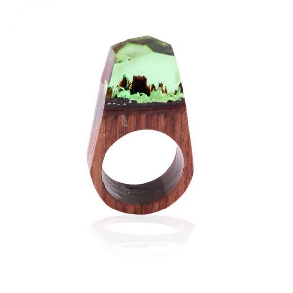 *Free Shipping* Unique Creative undersea world Colorful Pointed Wooden Resin Rings Transparent Ring for Women Party Wedding Gift Jewelry 32824573975