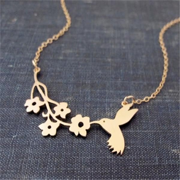 *Free Shipping* Lovely Bird Bites The Branch Necklace ,A Symbol Of Peace Necklace ,Bird And Flower Charm Necklace Jewelry 32796402167