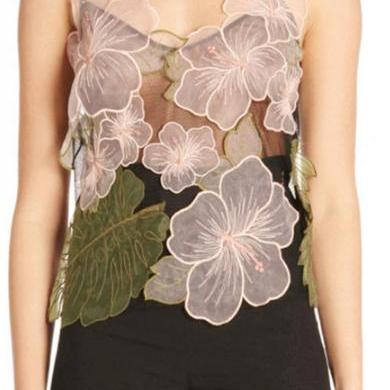 Spring & Summer Fashion tops Three-Dimensional Floral Embroidery Women's Blouses 32860482663