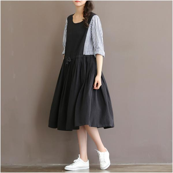 *Free Shipping* Spring Summer Dress for Women Striped Print Patchwork Black Sweet Dress Long Sleeve High Waist O Neck Cotton Linen Lolita Dress 32696162280