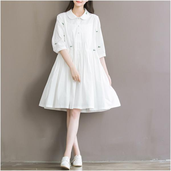 *Free Shipping* Summer Dress Short Sleeve Turn Down Collar White Dress High Waist Casual Women Dress Mori Girl Size M-2XL 32695278164