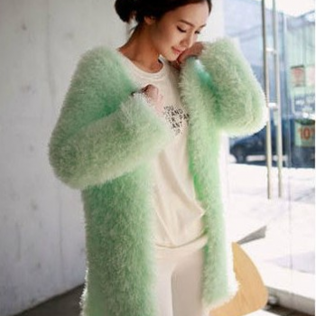New 2013 Korean Candy Color Women's Furry Loose Size Batwing Knitted Long Cardigan sweater Outerwear Green,Pink.White