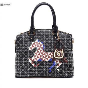 New Arrivals Fashion Diamond Lattice Embroider Line 2014 Ms Pony Printing Box Type Portable Inclined Shoulder Bag mmj008