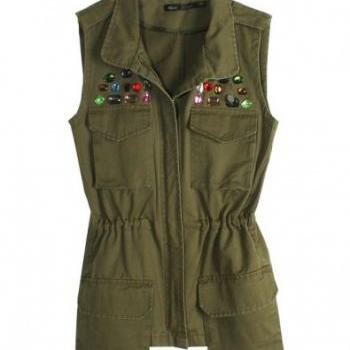 2013 New Arrival Women's Turn Down Collar Beaded Front Pocket Fashion Denim Autumn Vests