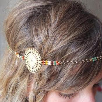 Sioux Headband golden and red colored beads