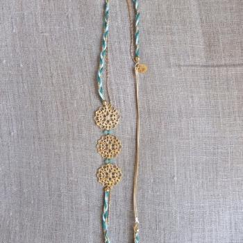 Golden flower headband braid green and blue Swarovski Crystal