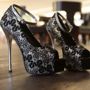 3 Colors Silver Blue Black Wedding Shoes Sexy Lace Peep Toe High Platform Heels Stiletto Dress Shoes
