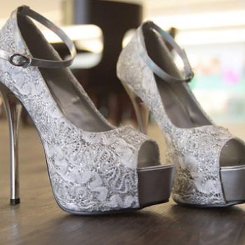 3 Colors Silver Blue Black Wedding Shoes Sexy Lace Peep Toe High ...
