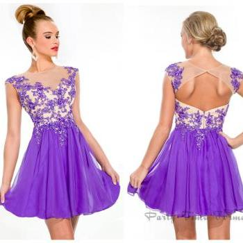 New Arrival Homcoming Dresses Jewel Neck Illusion Lilac Chiffon Appliqued Beaded Hollow Back Glitz Short / Mini Cocktail Gown PT 6344