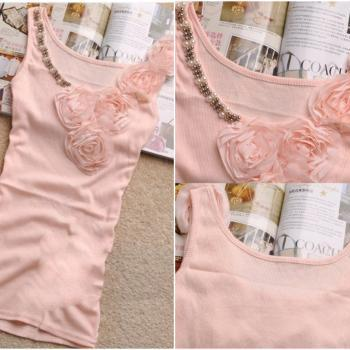 Hot Sale!!! Factory direct 8 colors Fashion lady's high quality beaded tank top with lace - T007