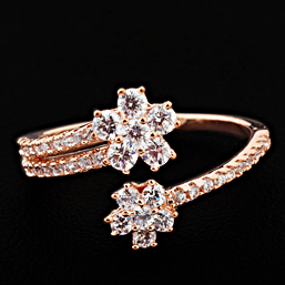 Fashion 18k Rose Gold Plated Petite Fleur Flowers Bypass Crossover Ladies CZ Diamond Ring Resizable (JingJing GA068)
