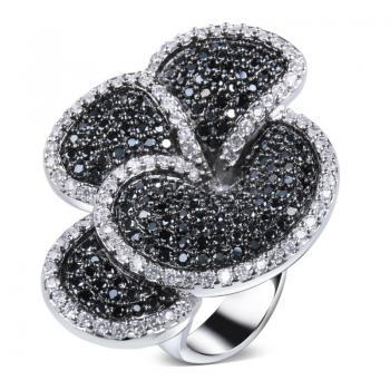 Iconic Black & White Fashion Flower Look Women Rings Top Quality Cubic Zirconia Hand Made Setting Real Platinum Plated Lead Free