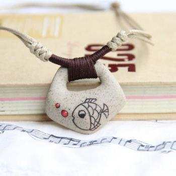 Ceramic Necklace, Clay Fish Pendant 2013 Fashion Vintage Accessories Jewelry Factory Handmade Ethnic Style