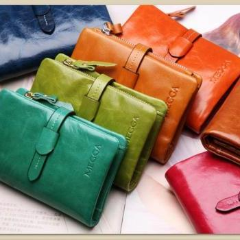 oil wax cowhide Women wallet genuine leather women's three-fold short design wallet fashion women's drawstring wallet