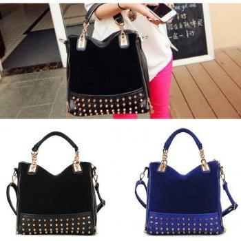Fashion women's work bag casual leather handbags scrub rivet shoulder bag women messenger bags,