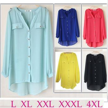 Plus Size XXXL-4XL Women Chiffon Blouses Shirts Pockets Rivet Ladies Blouse Long Spring Shirts Fish Tail Women's Clothing 5Color