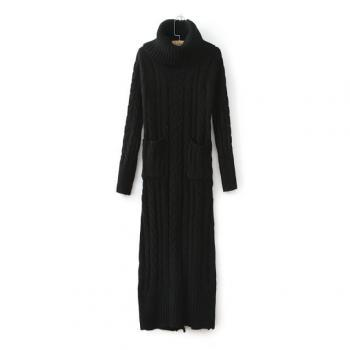 Autumn Winter Women's Vintage High Roll Neck Ribbed Cable Knit Panel Fit Long Sleeve Long Maxi Sweater Jumper Dress