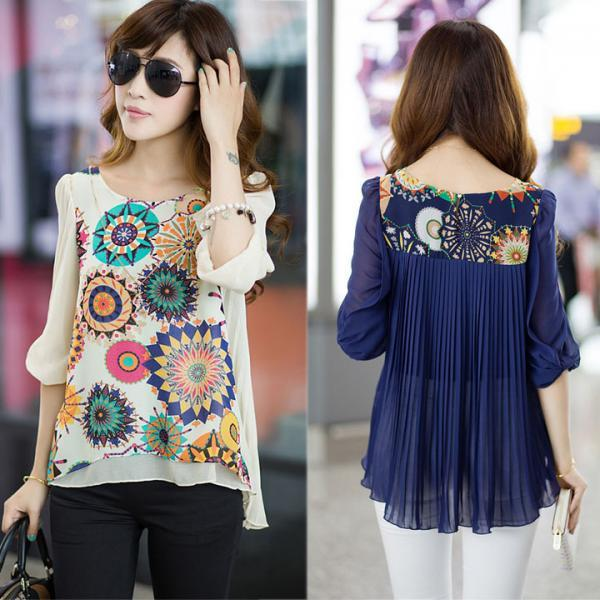 *Free Shipping* New Spring Summer Chiffon Blouse Women Fashion Casual Shirt Tops Loose Pleats Retro Print Blouse Plus Size #3 SV005580