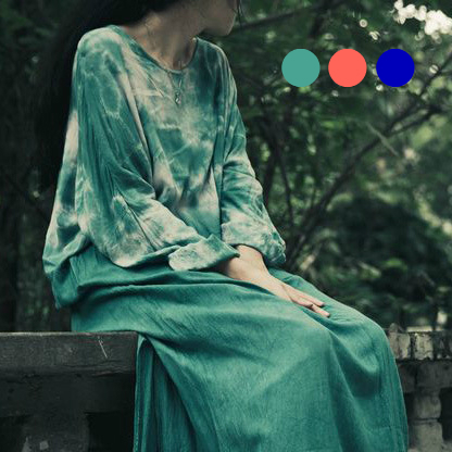 *Free Shipping* New Women Long-sleeved Robe Loose Maxi Plus Size Original Vintage Tie-dyed Cotton Dress