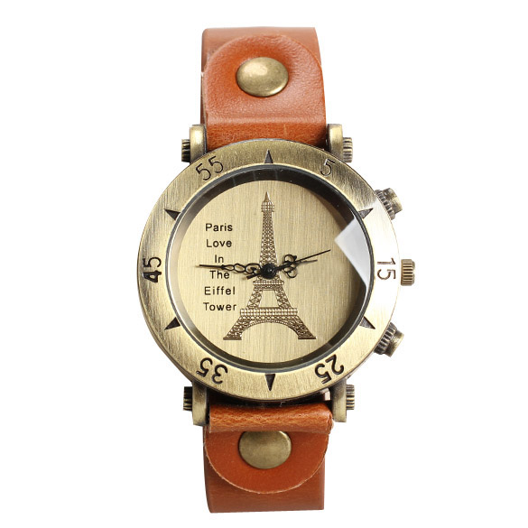 *Free Shipping* Retro Women Watch Eiffel Tower Face Quartz Wristwatch Light Brown Leather Strap Wrist Watch BS88 1915062044
